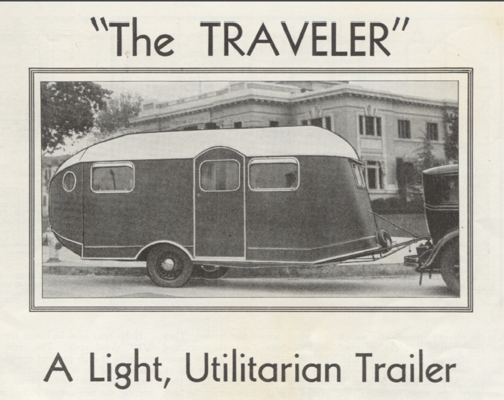 "1936 ""The Traveler"" Vintage Trailer from Popular Homecraft magazine"